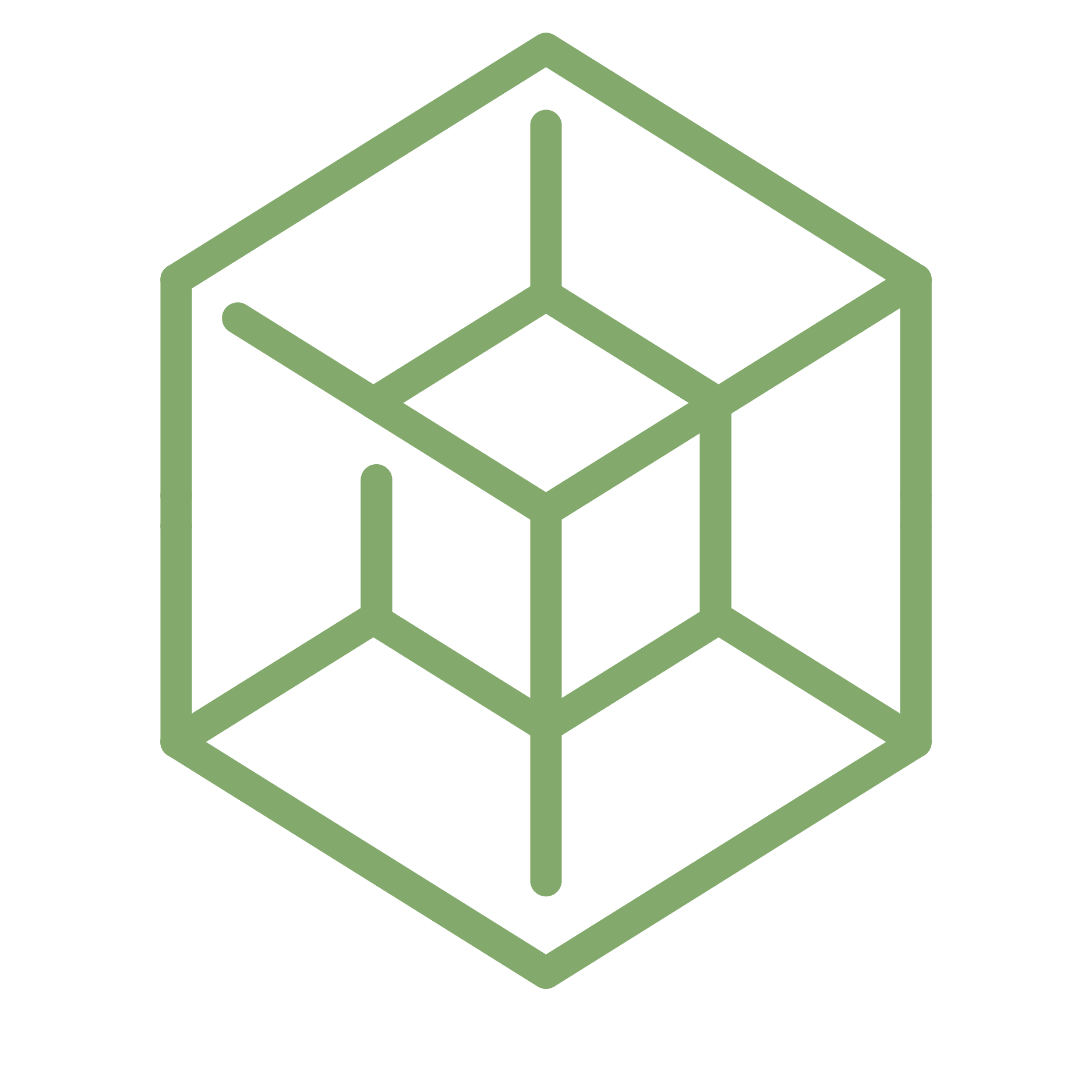 3D cube icon green