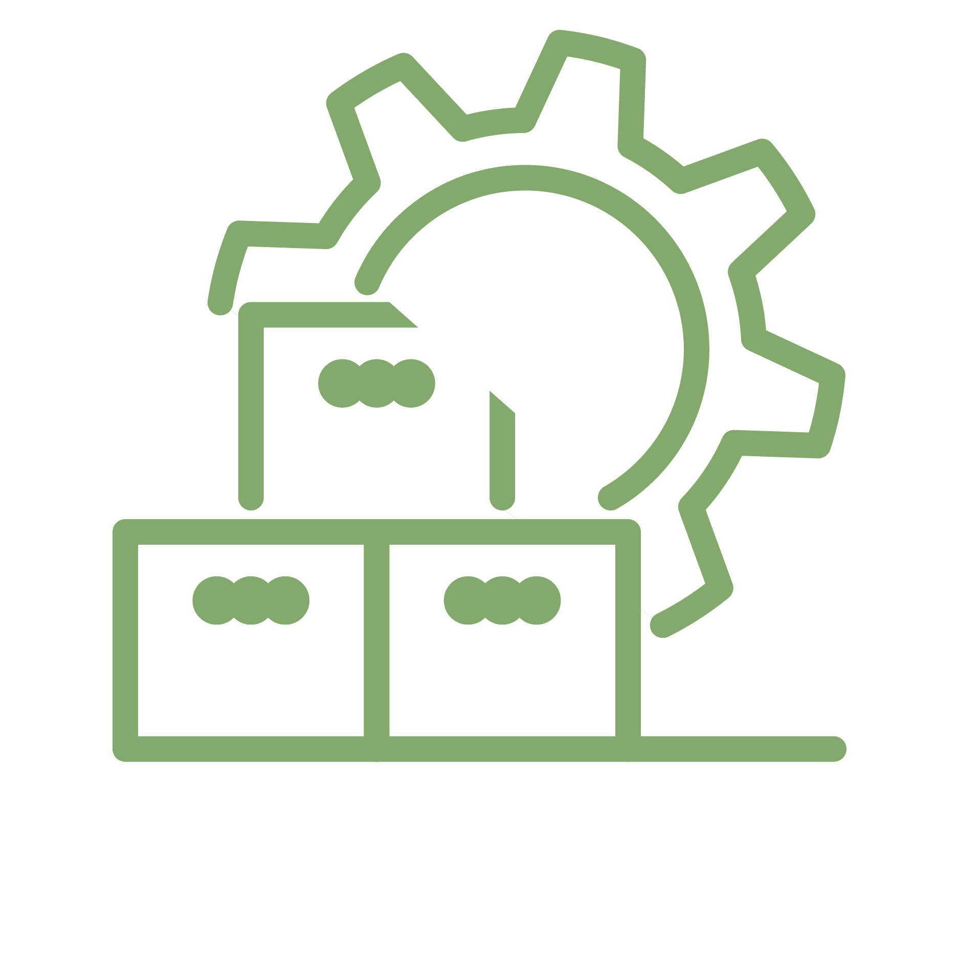 gear and boxes icon green