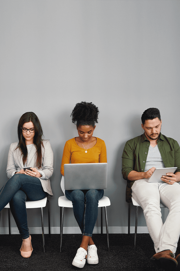 young people on computer devices