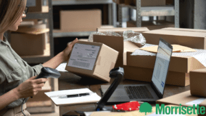 Woman scanning Ecommerce Packages