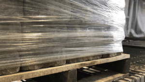 stretch film wrapped on pallet